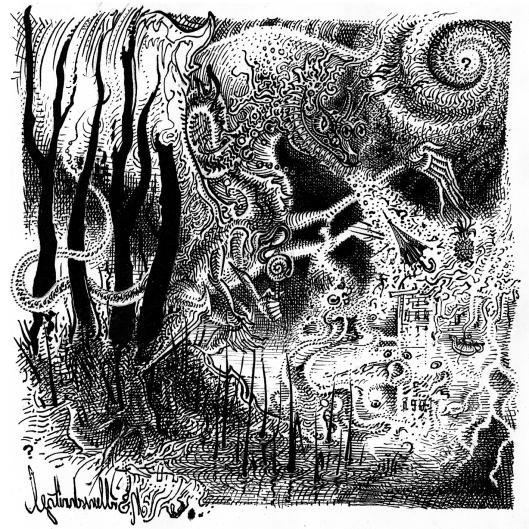Zeichnung eines Drachen der Apokalypse