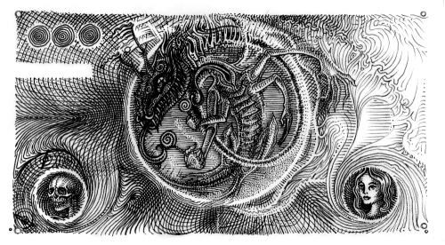 Rückseite einer Phantastilliarde (Kunstgeld)