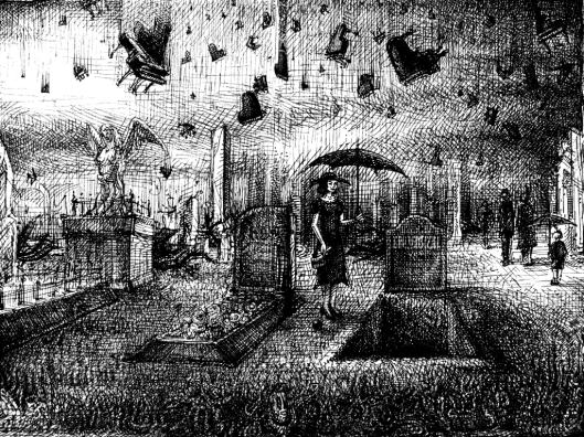 Eine junge Frau mit Schirm am Grab es regnet Flügel und Klaviere auf den Friedhof