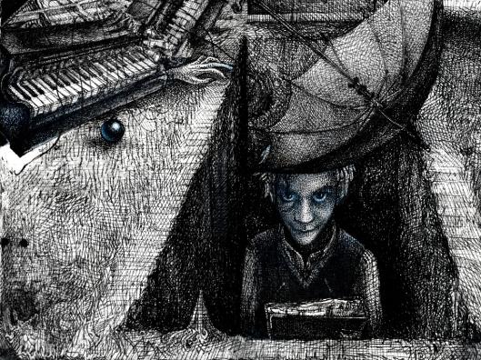 Dr. Brillenschnitzel schaut aus dem Grab Madame ist begraben unter einem Klavier