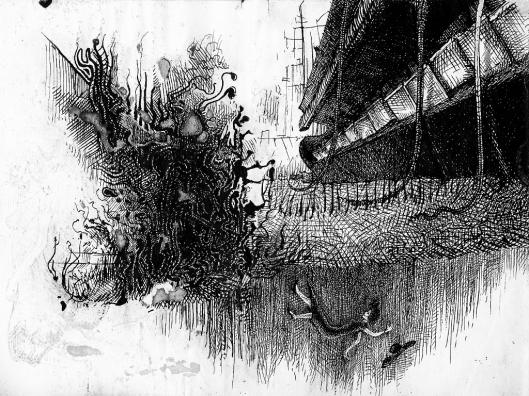 Junge Frau fällt ins Grab schiffshohe Tasteninstrumente erwachsen aus dem Urwald