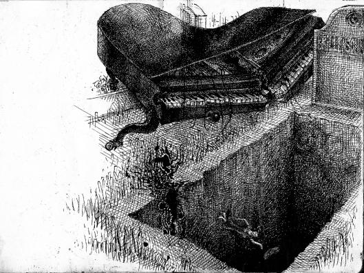Frau fällt in offenes Grab, daneben ein zerbrochener Konzertflügel