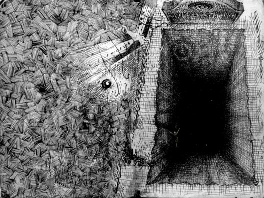 Offenes Grab als bodenloses Loch, wilde Schraffuren