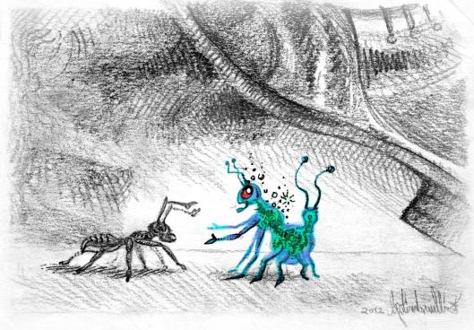 Halbtransparente Cyclocoloroiden Brotspinne und Ameise, darüber ein Menschen Fuß.