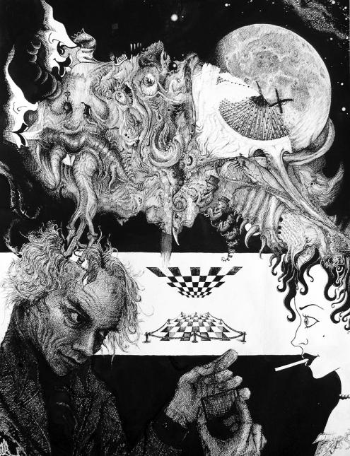 Alterndes Selbstbildnis mit Fantasien Zigarette Schach Mond Nacht Gedanken (828x1080) brillenschnitzel