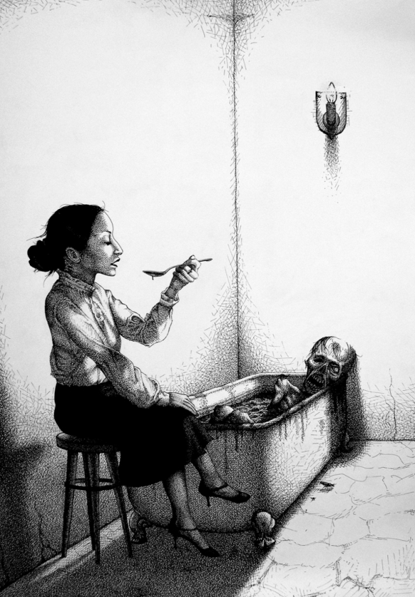 Badewanne Löffel Tod Leiche Gore Horror Essen Hocker Frau Ekel (752x1080) brillenschnitzel
