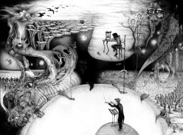 Dirigent Surrealist surrealism Stundenglas Warten Horror Landschaft Vögel Zeichnung Komplettwerk (1456x1080) brillenschnitzel