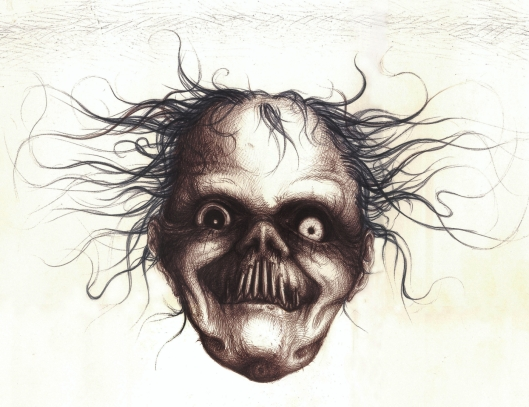 Empore Brillenschnitzel Grusel Fratze Horror Surrealism face Portrait