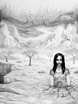 Erdfrau Erde Frau Wolken Schlucht Krater Boden Aufbrechen Bäume (1080x1080) brillenschnitzel