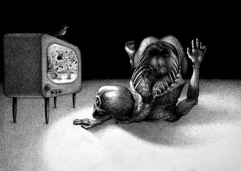 Fernsehender Fernseher TV Gore Vogel Rückrat Tod sureal Organe Inneres Totenschädel skull (1521x1080) brillenschnitzel