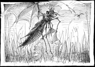 Frockel Insekt surreal Drache Schwingen Grille Grashüpfer (1513x1080) brillenschnitzel