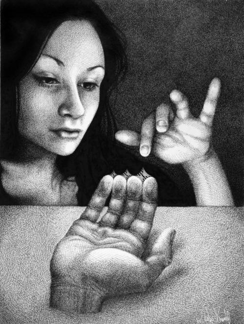 Hand Tisch Frau Finger strange surreal Finger Schraffur (814x1080) brillenschnitzel