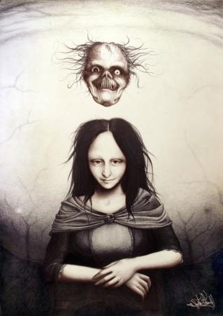 Mona Lisa mit Gruselfratze La Gioconda Kunst Portrait Horror Zeichnung Frau (763x1080) brillenschnitzel