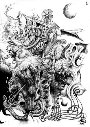 Strickendes Fabelwesen Stricken Monster Horror surreal Handarbeit (766x1080) brillenschnitzel