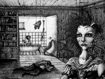 Surrealismuszeichung surreal gore spine Badewanne Rückrat Wirbelsäule Gesicht Knochen Bücher Korsett (1424x1080) brillenschnitzel