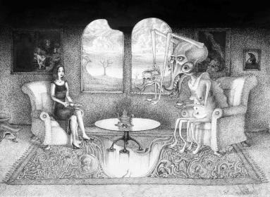Teestunde Alien Monster zweiköpfig Tee Abgrund Tisch Teekanne Frau Sessel (1473x1080) brillenschnitzel
