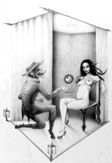 Teufelsverführung Teufel Verführung Apfel Aktzeichnung Frau Vorhang Escher unmögliche Perspektive (743x1080)brillenschnitzel